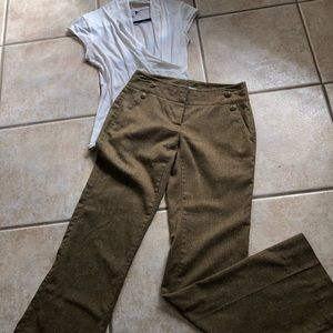 CAbi Ocre Tweed Career Pants Size 2